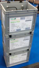Diese sogenannten Battery-Packs im Leichtbau-Kunststoffgehäuse lassen sich wie Getränkekisten aufeinander stapeln, sind einfach installierbar und ohne aufwändige Verkabelung erweiterbar.