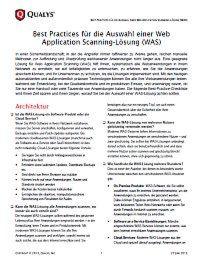 Die Auswahl einer Web Application Scanning-Lösung (WAS)