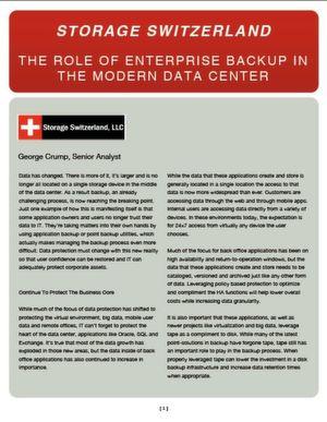 The Role of Enterpreise Backup in the Modern Data Center