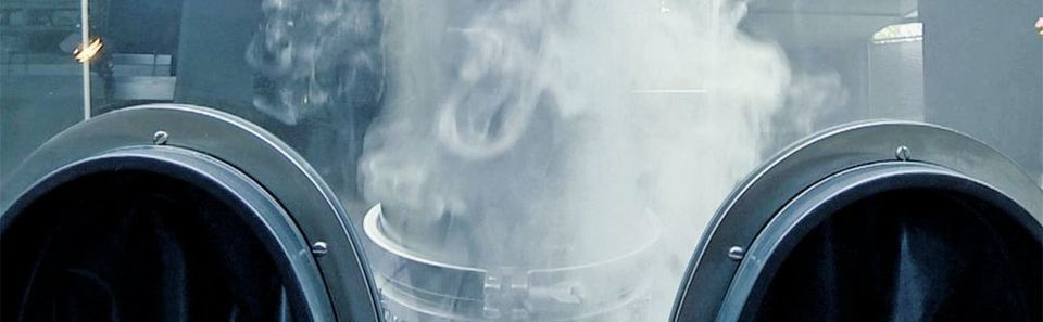 Smoke studies show the airflow in the barrier system.