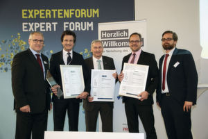 "The winners in ""Processing technology equipment and components "": 1. Price: 3-D Sealing Technology by Tedima (left: Dietmar Siebler), 2. Place: Inline-Disperser Epsilon, Netzsch Feinmahltechnik (middle: Gerhard Kolb), 3.: Herding Maxx, Herding Filtertechnik (right: Jörg-Armin Schulz)"