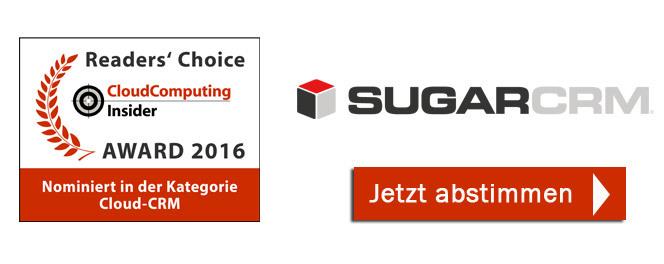 SugarCRM ist nominierte für den CloudComputing-Insider-Award in der Kategorie CRM