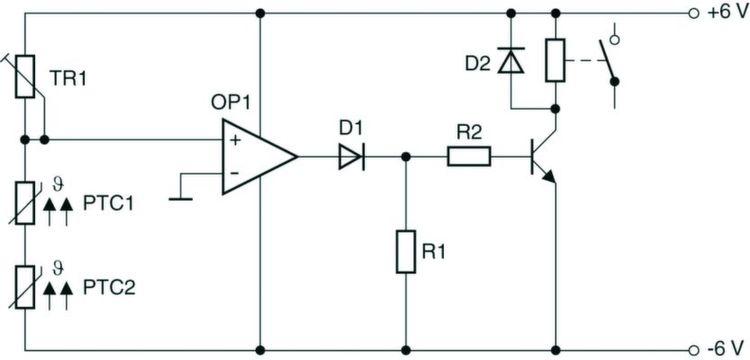 Bild 3: Schaltung zur Temperaturüberwachung mit PTC-Sensoren ...