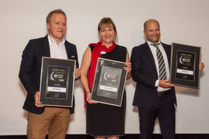 Die Gewinner des Storage-Insider Readers' Choice Award 2016 in der Kategorie Enterprise Filesharing: von links nach rechts: Thomas Haberl, Yvonne Schickel und Tobias Gerlinger