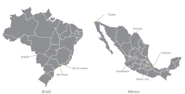 Pictures world of tooling spotlight brazil and mexico 1 political map of brazil and mexico gumiabroncs Choice Image