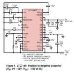 Bild 1. Positiv-Negativ-Spannungswandler auf Basis des LTC7149 (VIN: 4 V - 50 V, VOUT: -10 V bei 2 A)