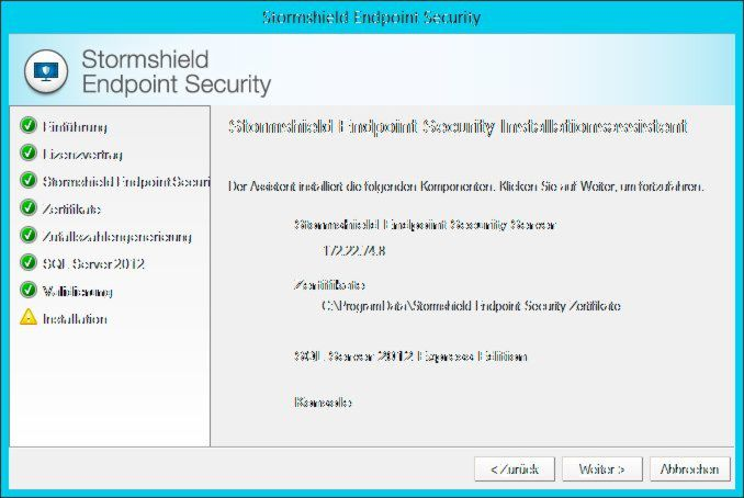 Der Installationsassistent der Stormshield Endpoint Security 7.