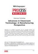 Advances in Cleanroom Technology: Manufacturing Perspective