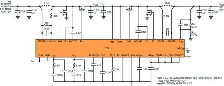 Bild 5: Der Schaltplan des LT7813 zeigt ein IC mit einem ...