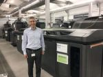 Ramon Pastor, HP's vice president and general manager alongside the company's HP Jet Fusion 3D 4200 that HP says is designed for prototyping and short-run manufacturing needs.