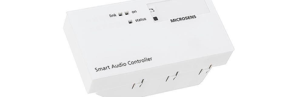 Der Smart Audio Controller von Microsens wandelt IP-Audiodaten in analoge Audiosignale um.
