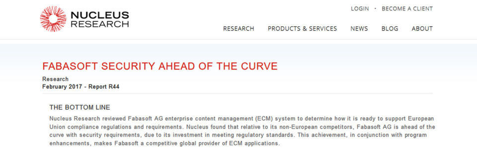 "Der Report ""Fabasoft security ahead of the curve"" stammt von Nucleus Research."