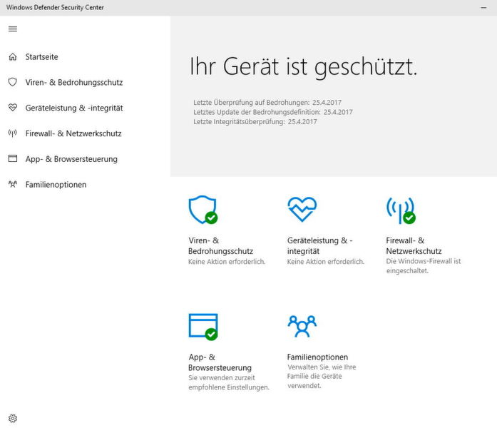 Im neuen Windows Defender Security Center sind alle Sicherheitseinstellungen bezüglich des Windows Defenders zu sehen. Außerdem