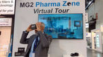 Visitors at the stand could make a virtual tour of the MG2 Pharma Zone.