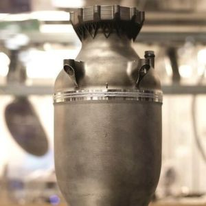Fig. The firm SpaceX produces the combustion chamber with regenerative cooling of the SuperDraco rocket engine from a metallic powder by 3D printing.