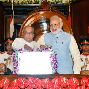 President of India, Pranab Mukherjee and Prime Minister of India, Narendra Modi launch GST with great pomp in the Parliament's Central Hall.