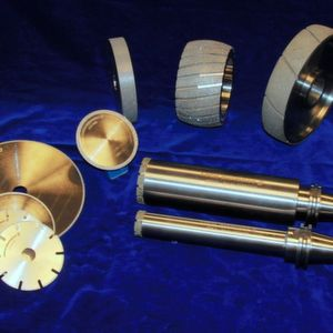 Examples of electro-plated diamond and CBN grinding, cutting and deburring tools.