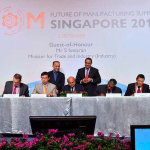 The MoU being signed between the Agency for Science, Technology and Research, the National University of Singapore, GSK, Pfizer and MSD to kick start the launch of the PIPS initiative.