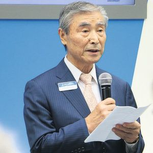 President Yoshimaro Hanak was pleased with the high attendance at the press conference of Okuma.