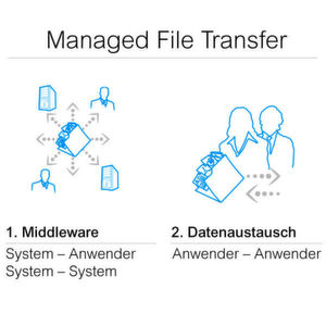 Komponenten von Managed File Transfer Lösungen.