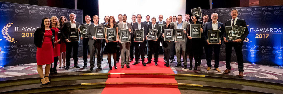 Die Gewinner der sieben Security-Insider Readers' Choice Awards 2017 im Rahmen der IT-Awards 2017 Gala.