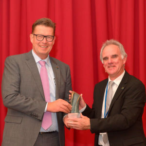 "Covestro CTO and Labour Director Dr. Klaus Schäfer (L) accepting the German Chemistry Award 2017 from Rainer Nachtrab, VAA first chairman. ""The results for Covestro are primarily based on team spirit and a trusting, respectful work environment,"" Schäfer said."