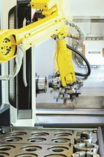 Trend towards automation: time-consuming change-overs for clamping chucks and workpiece stops can be automated by a robot.