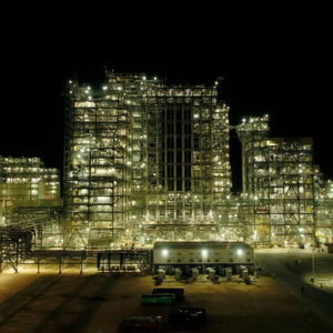 Night view of Chevron's polyethylene units in Old Ocean, Texas.