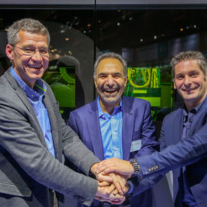 From Left to Right: Michel Delanaye, co-founder and CEO, Geon-X, Mohammad Ehteshami, Vice President and General Manager, GE Additive, Laurent D'Alvise co-founder and CEO, Geon-X.