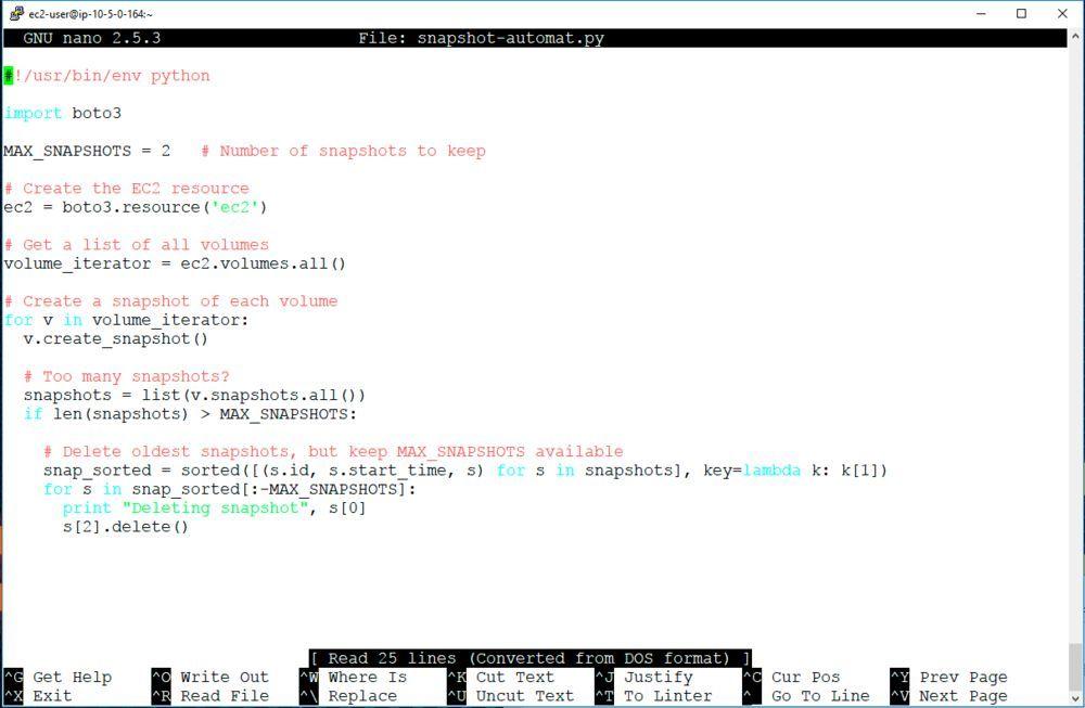 Dieses kurze Python/Boto-Programm erstellt automatisch Snapshots von