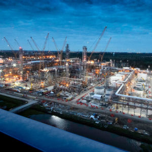 Night view of Chevron Phillips Chemical Company's U.S. Gulf Coast Petrochemicals Project in Baytown, USA.