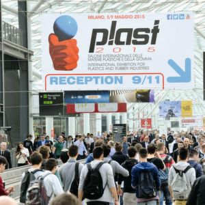 Packed halls at Plast 2015 in Milan, Italy.