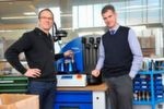 "Glätzer CEO Daniel Rautenbach (r) and Manager Ingo Schulten are continuously extending the use of Haimer's shrinking technology, with and without Safe-Lock. ""To me the switch to Safe-Lock seemed obvious, like using an electric starter instead of a crank to start a car,"" Schulten explained and added: ""The cutting data improved significantly. The tool life increased by 40% consistently."""