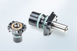 The compact E7048 Build-in cylinder with flange is is supplied with screws.