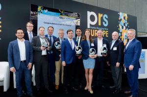 Far right: Vice President and Publisher of Crain Communications Brennan Lafferty presents the winners of the Plastics Recycling Awards Europe their awards at the event in Amsterdam.