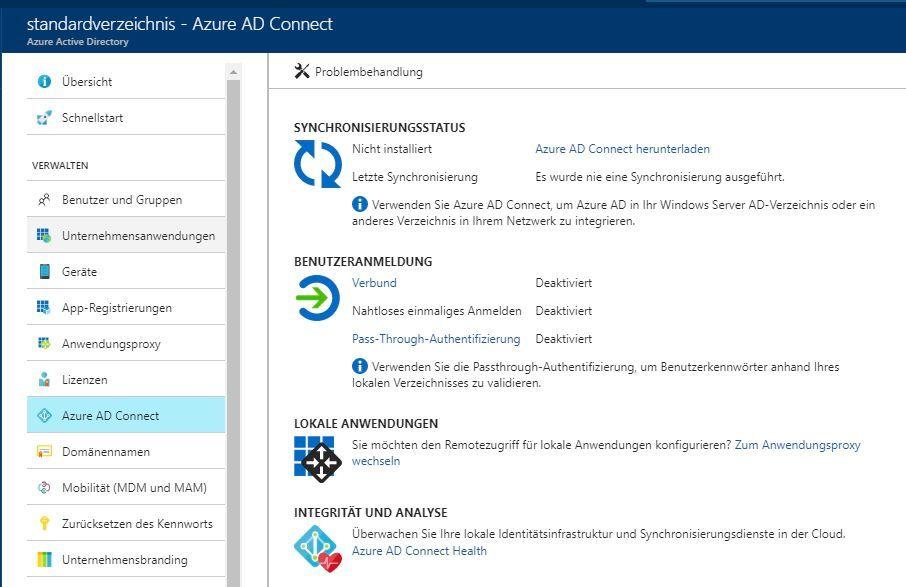 Mit Azure AD Connect kann Azure AD mit lokalen Active-Directory