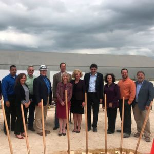 Dr. Stephan Glander, CEO BYK, Alison Avery, president BYK USA Nafta and Bob Frawley, director of Stork's Gulf Coast Operations with BYK's executive team at the ground breaking ceremony for the Garamite Project at Gonzales, Texas.