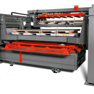The ByTrans Cross 4020 is an automation solution for fiber laser cutting and is designed with a loading and unloading solution which can process large metal sheets as large as 4 by 2 sheets.