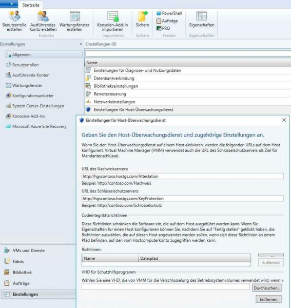 Shielded-VMs lassen sich auch mit System Center Virtual Machine Manager steuern.