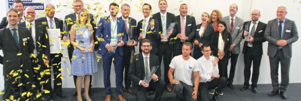 The winners of the Innovation Award for Achema 2018 are all smiling faces.