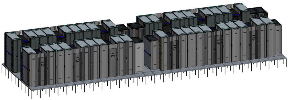 "Ein CAD-Modell des ""Astra""-Supercomputers der Sandia National Laboratories, in dem der Doppelboden sowie die Rechner-, Kühl-, Netzwerk- und Storage-Racks erkennbar sind."