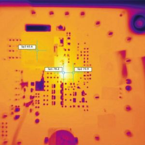 Figure 1. TPS543C20 40-A thermal image at 0.9-V output with 12-V input, at 25°C ambient