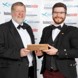 L-R: Keigh Ridgeway, Executive Dean of the AMRC Group, presenting the Made in Scotland Award to Vert Rotors CEO Olly Dmitriev.
