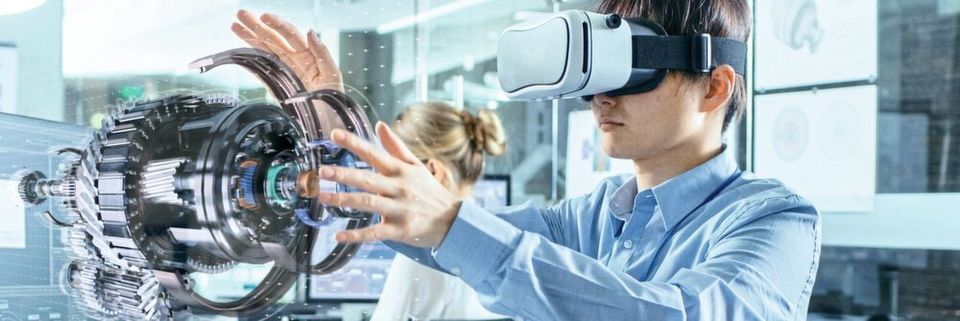 VR-Headset visualisiert ein 3D-Hologram