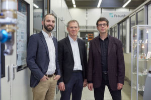 The developers of the EHLA process Thomas Schopphoven, Gerhard Maria Backes and Andres Gasser (from left to right).