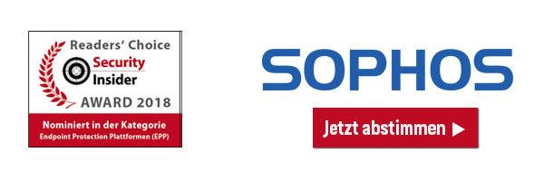 Sophos ist nominiert in der Kategorie Endpoint Protection Plattformen