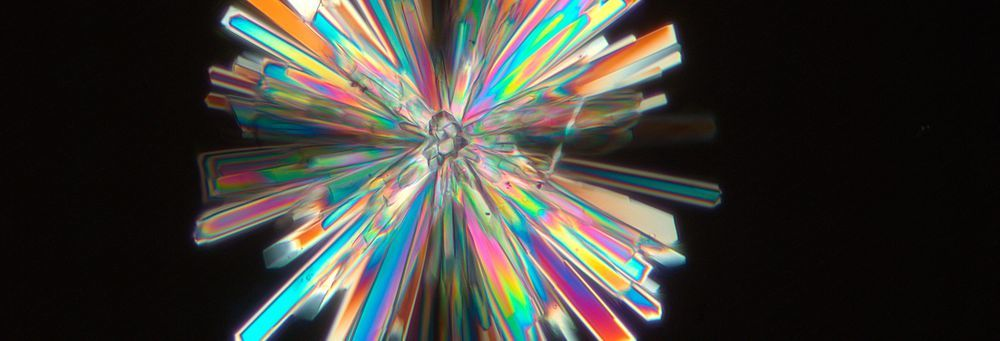 The photograph shows honey crystals under polarized light. It was taken with ZEISS Axio Imager.Z1.