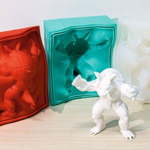 Metamoulds (red piece left) are used to fabricate the silicone moulds (greenish and white shapes). The silicone can then be used repeatedly to form replicas (front).