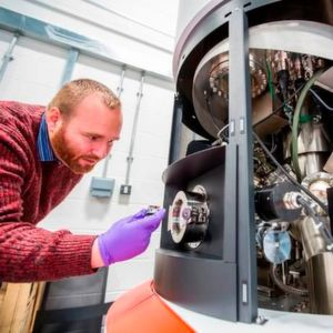 Chemical analysis of steel - Dr James McGettrick of Swansea University, with an X-ray Photoelectron Spectrometer.