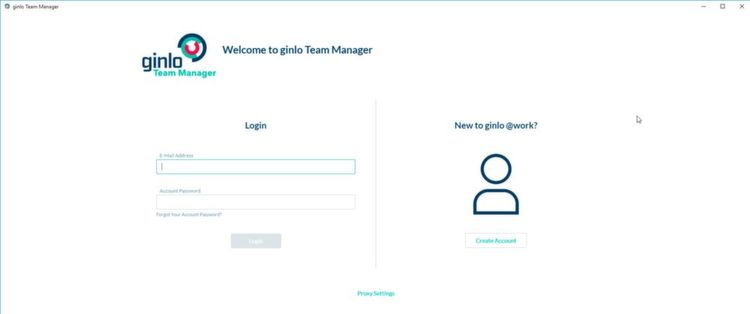 Login am Team Manager von Ginlo.